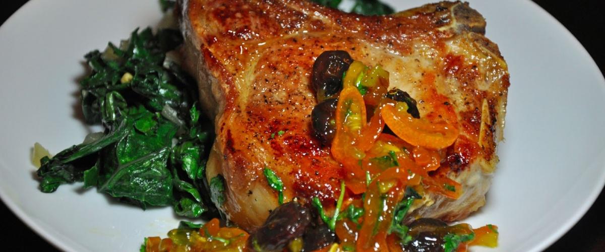 Pan-Roasted Pork Chops with Curried Kumquat Chutney and Sauteed Kale ...